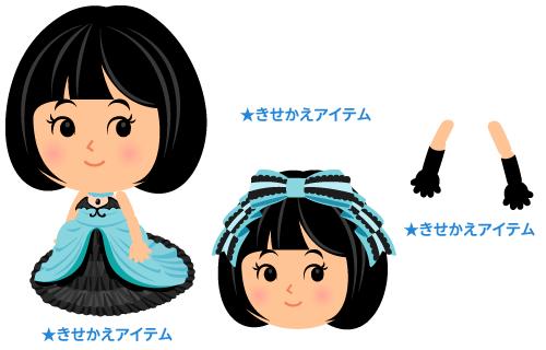 パーティドレス黒青・髪飾りフリルリボン青・ロンググローブ黒