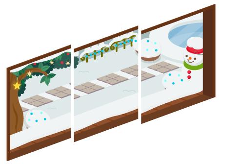 クリスマスデイ三連窓1・クリスマスデイ三連窓2・クリスマスデイ三連窓3