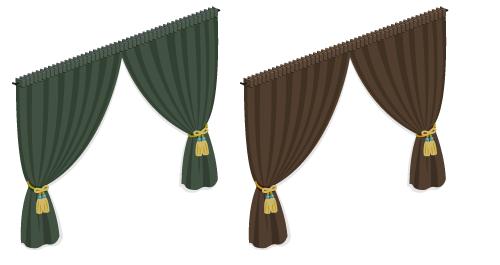 カーテン掃出窓用錆緑・カーテン掃出窓用モカ