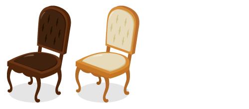 布張り椅子チョコ・布張り椅子ミルク