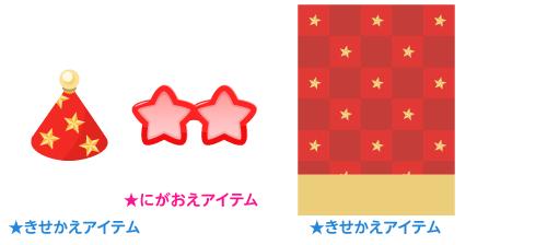 三角帽赤スター・星形サングラス赤・背景:市松赤スター