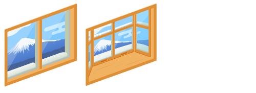 富士山の見える小窓・富士山の見える出窓