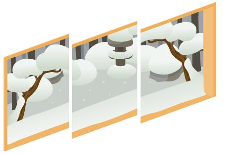 冬の庭が見える三連窓1・冬の庭が見える三連窓2・冬の庭が見える三連窓3