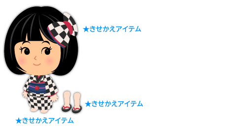 着物市松黒白・リボン髪飾り市松黒白・女性用ぞうり黒赤
