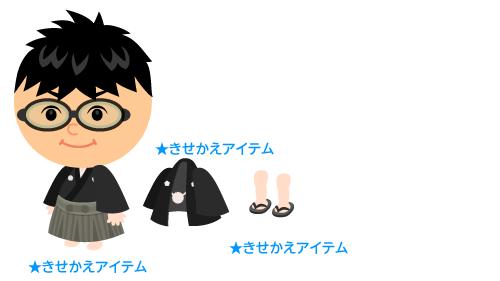 袴セット黒灰・羽織黒灰・男性用ぞうり 黒