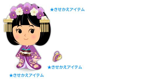 姫風着物長裾すみれ色・姫風髪飾りすみれ色・和服用ミニバッグ紫