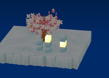 丈夫な光るアイスキューブと丈夫なアイスキューブを飾った例