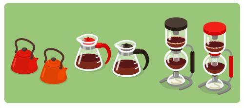 ほうろうケトル赤・ほうろうケトルオレンジ・コーヒーサーバー赤・コーヒーサーバー黒・コーヒーサイフォン黒・コーヒーサイフォン赤