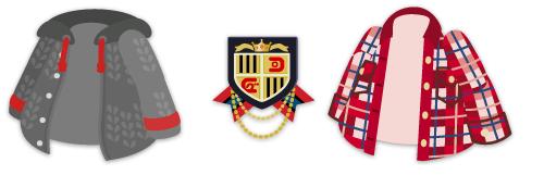 ニットパーカ グレー&エンブレムブローチ&チェックネルシャツ 赤