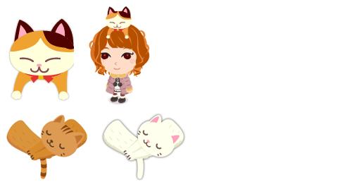 頭のせ三毛猫、猫マフラー各色