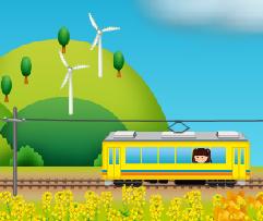 電車に乗るアバター