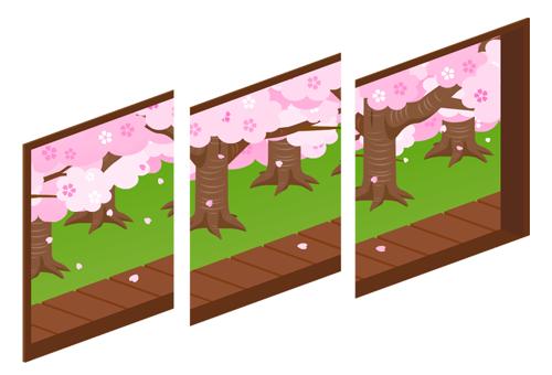 桜の庭が見える三連窓1・桜の庭が見える三連窓2・桜の庭が見える三連窓3