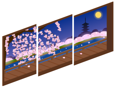 夜桜が見える三連窓1・夜桜が見える三連窓2・夜桜が見える三連窓3