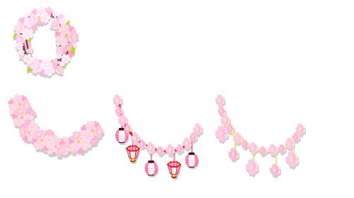 桜の花リース・桜ふわふわガーランド・桜提灯ガーランド・桜ゆらゆらガーランド