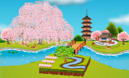 コイコイ背景(春の小川シート用)桜版 設置例 昼