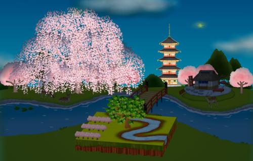 コイコイ背景(春の小川シート用)桜版 設置例 夜