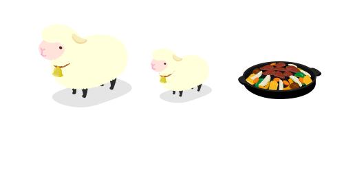 親羊ぬいぐるみ・子羊ぬいぐるみ・ジンギスカン鍋