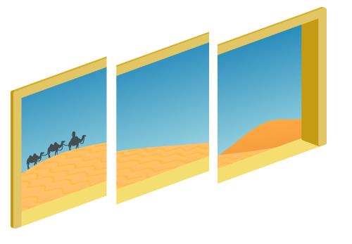 砂漠が見える三連窓昼1・砂漠が見える三連窓昼2・砂漠が見える三連窓昼3