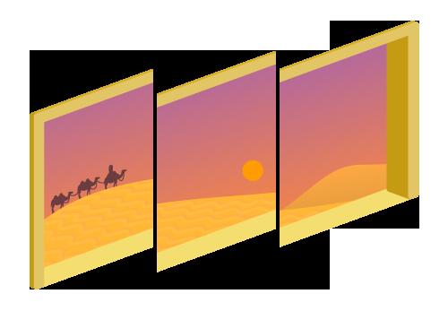 砂漠が見える三連窓夕1・砂漠が見える三連窓夕2・砂漠が見える三連窓夕3