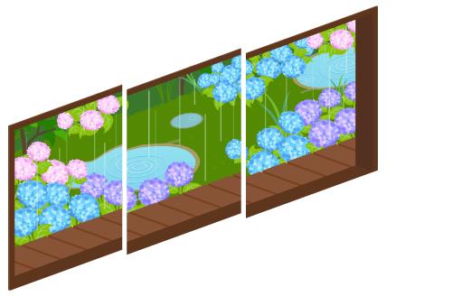 雨の庭が見える三連窓1・雨の庭が見える三連窓2・雨の庭が見える三連窓3