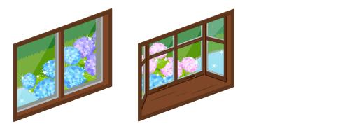 雨上がりの小窓・雨上がりの出窓