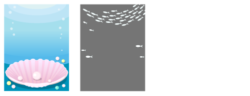 背景:貝殻ピンク・白い魚群フレーム