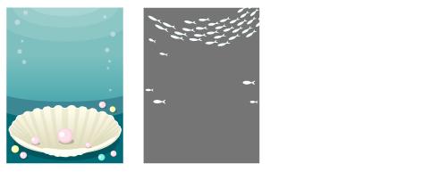 背景:貝殻ホワイト・白い魚群フレーム