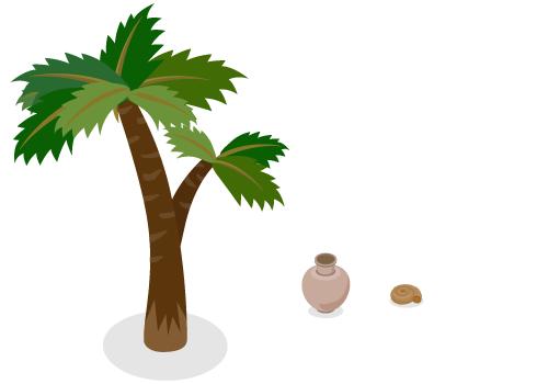 古代植物ヤシ・弥生土器りんご型・アンモナイト化石茶小