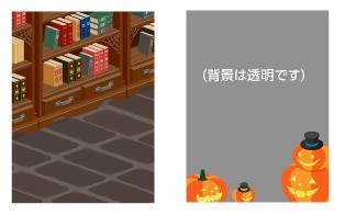 背景:魔法学校の図書室・帽子ランタンフレーム