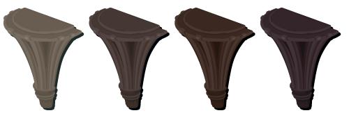 半円柱装飾アッシュ・半円柱装飾チャコール・半円柱装飾ビター・半円柱装飾ブラック