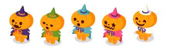 かぼちゃ人形紫・かぼちゃ人形緑・かぼちゃ人形空色・かぼちゃ人形ピンク・かぼちゃ人形ホワイト