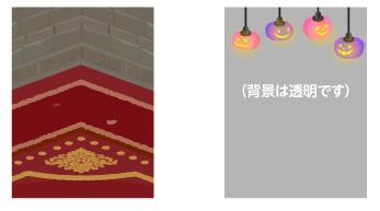 背景:魔法学校コーナー・ランタン灯紫フレーム