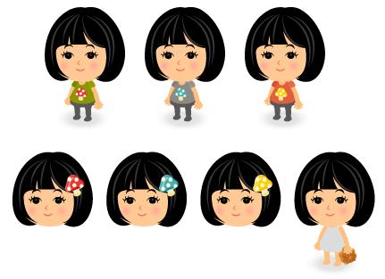赤キノコTシャツ・青キノコTシャツ・黄キノコTシャツ・赤キノコヘアピン・青キノコヘアピン・黄キノコヘアピン・手持ちもみじまんじゅう