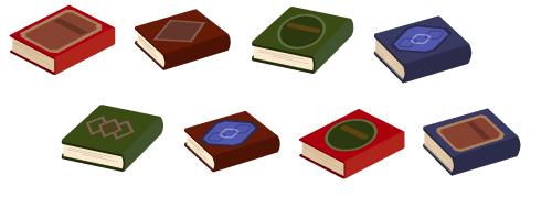 平積みの本赤1・平積みの本えんじ1・平積みの本緑1・平積みの本紺1・平積みの本緑2・平積みの本えんじ2・平積みの本赤2・平積みの本紺2