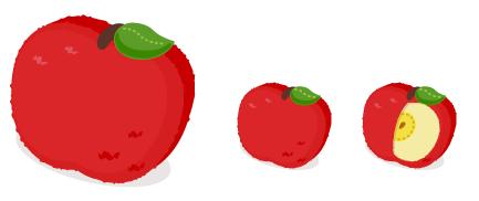 りんごクッション大・りんごクッション・りんごクッションカット