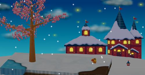 コイコイサンタハウスを飾った庭夜