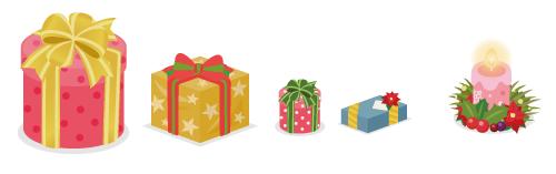プレゼント円筒赤大・プレゼント角黄・プレゼント円筒赤小・プレゼント角青・リース付キャンドル