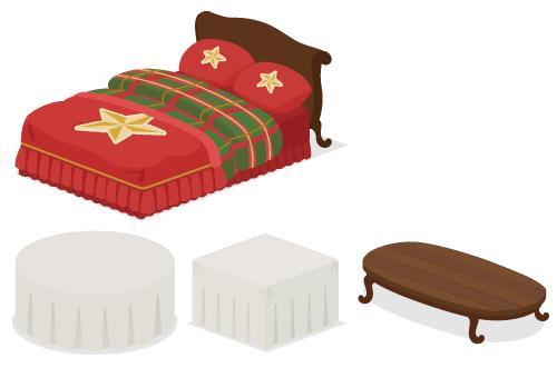 星ベッド赤×緑・クロス付きテーブル丸・クロス付きテーブル・ローテーブルロング濃茶