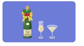 シャンパンボトルリボン・シャンパングラス細・カクテルグラス