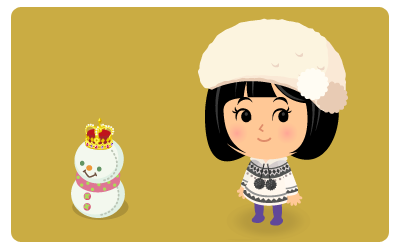 王冠ミニ雪だるまピンク