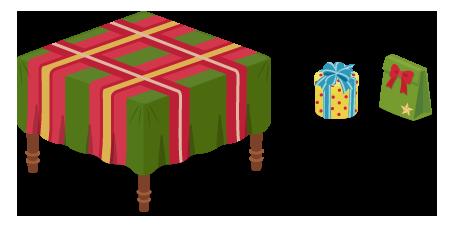 クロス付テーブル赤×緑・プレゼント円筒黄・プレゼント袋緑