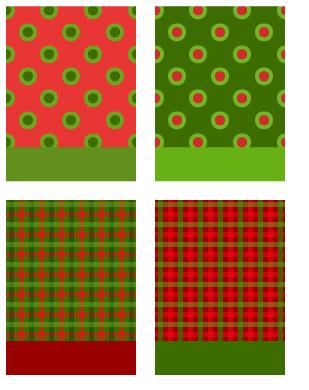 背景水玉ダブル苺&キウイ・背景水玉ダブル常緑&紅・背景チェック緑&真紅・背景チェック緋&深緑