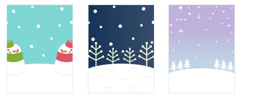 背景:雪だるま空色・背景:雪の林紺・背景:雪の野原藤色