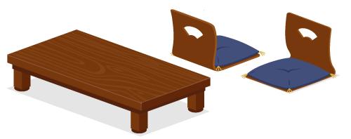 ちゃぶ台角栗色・座椅子扇模様・座椅子扇模様背