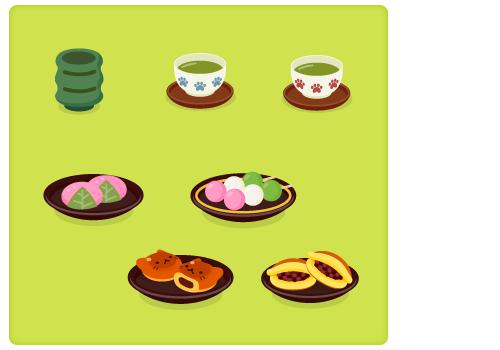 湯呑み・和菓子各種