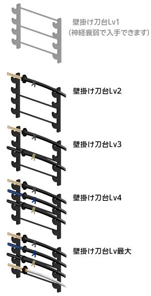 壁掛け刀台Lv2・壁掛け刀台Lv3・壁掛け刀台Lv4・壁掛け刀台Lv最大