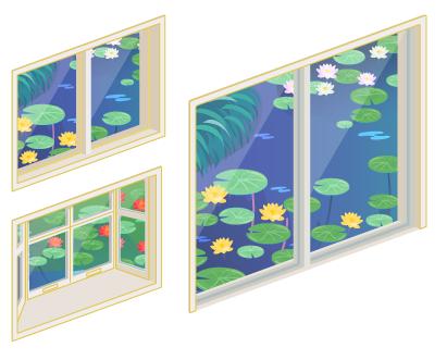 睡蓮の池の小窓・睡蓮の池の出窓・睡蓮の池の掃出窓