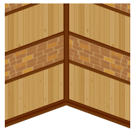 板目とレンガの壁