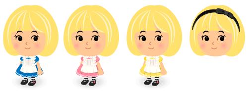 アリスのエプロンドレス青・アリスのエプロンドレスピンク・アリスのエプロンドレス黄・アリスのリボンカチューシャ黒