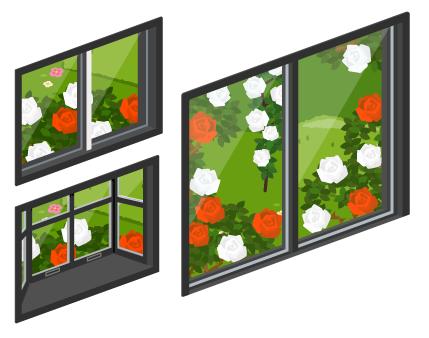 アリスのバラ園の小窓・アリスのバラ園の出窓・アリスのバラ園の掃出窓